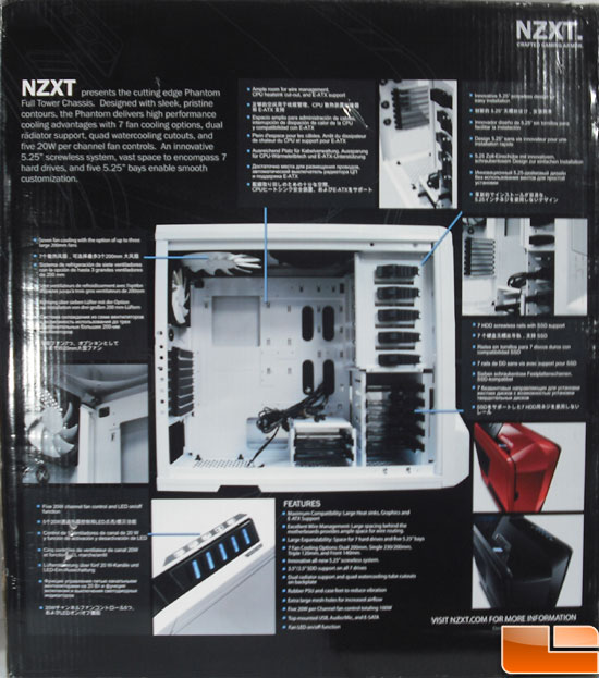 NZXT Phantom Full Tower Case Box Back