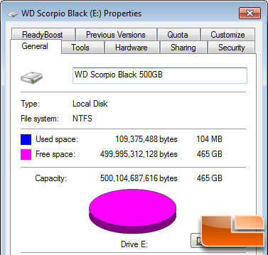 WD Scorpio Black 500GB Hard Drive Actual Capacity