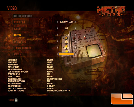 Metro 2033 Benchmark Settings