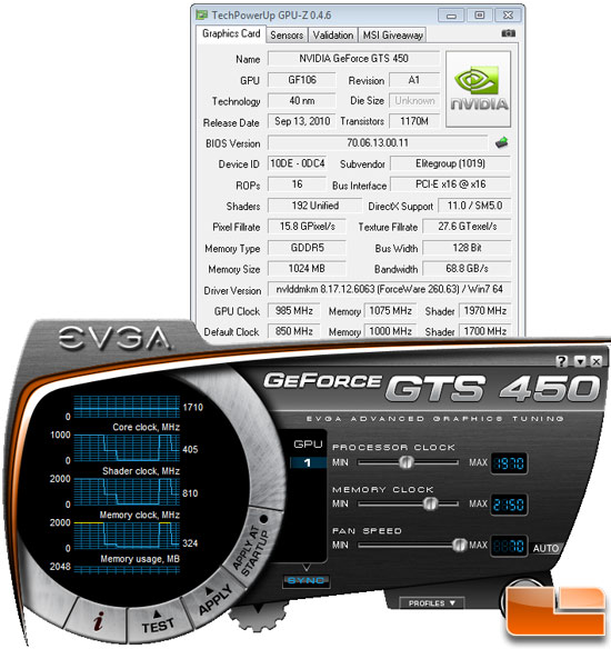 ECS GeForce GTS 450 with EVGA Precision Overclocking Utility