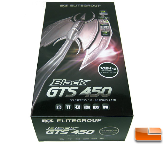 ECS GeForce GTS 450 Black Video Card Retail Box Front