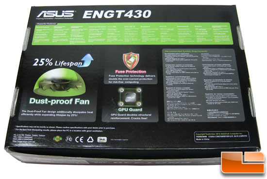 ASUS GeForce ENGT430 Top Video Card Retail Box Back