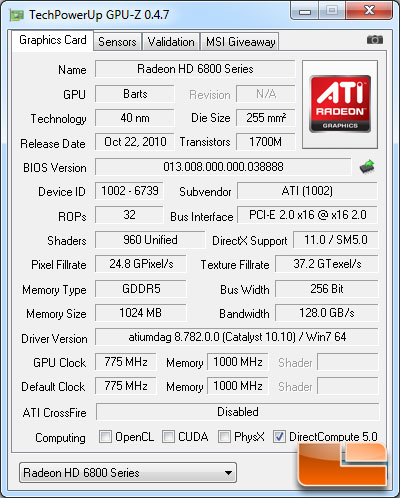 AMD Radeon HD 6850 1GB GPU-Z