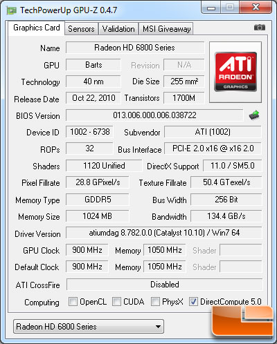AMD Radeon HD 6870 1GB GPU-Z