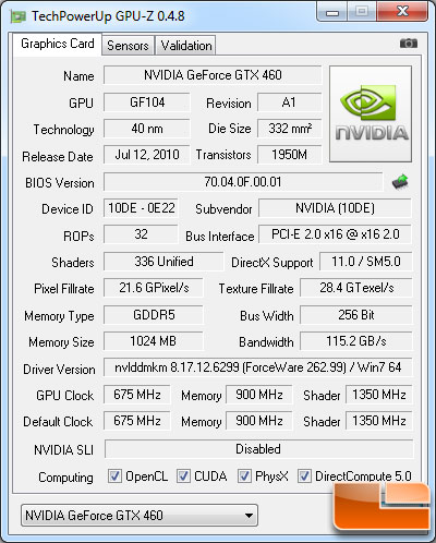 NVIDIA GeForce GTX 580 Video Card GPU-Z 0.4.8 Details