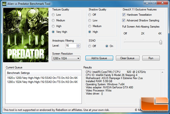 Aliens vs Predator Benchmark Settings