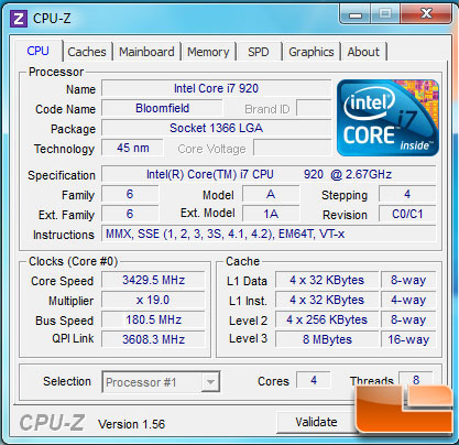 GIGABYTE X58A-UD3R Overclocked CPU-Z