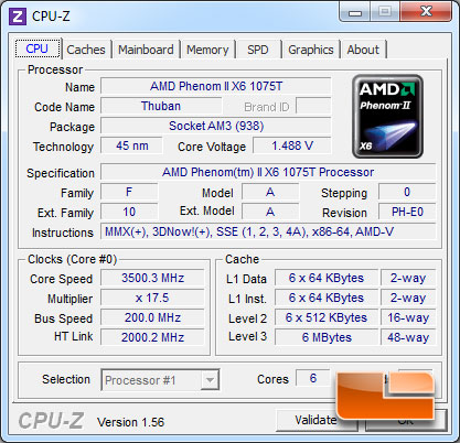 AMD Phenom II X6 1075 Turbo CPUz