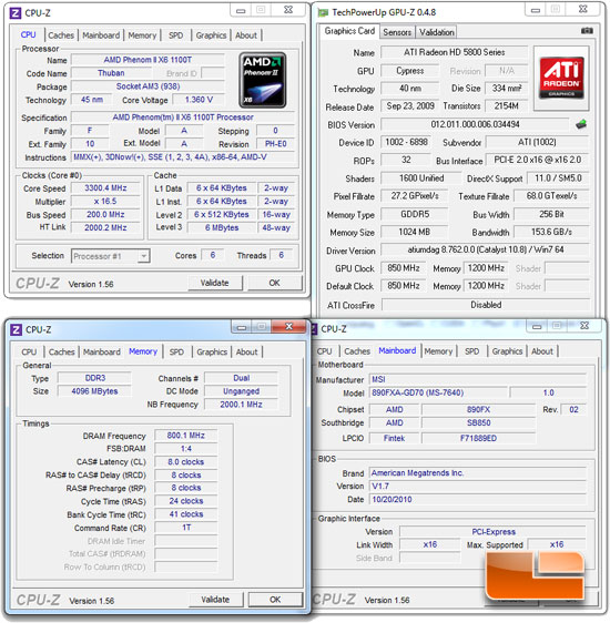 AMD Phenom II X6 1055T Test Bench Settings