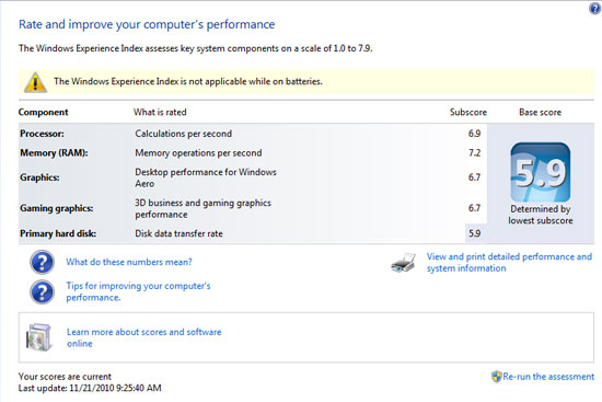 Acer Aspire 7551G Windows Performance Index
