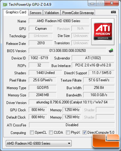 AMD Radeon HD 5950 2GB Video Card GPU-Z 0.4.9 Details