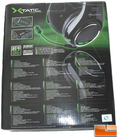 Sharkoon X-Tactic 5.1 Digital Headset Box Back