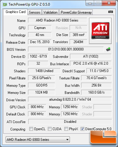 AMD Radeon HD 6950 1GB Video Card GPU-Z 0.5.0 Details