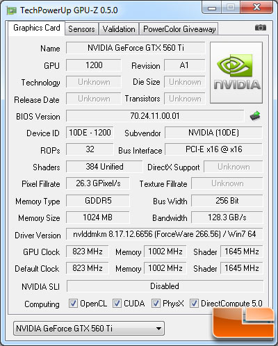 NVIDIA GeForce GTX 560 Ti Video Card GPU-Z 0.5.0 Details