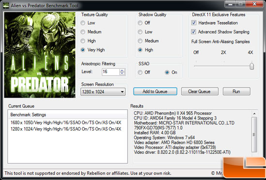 Sapphire Radeon HD 6850 Toxic Video Card AlienvsPredator Settings