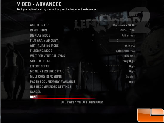 XFX Radeon HD 6850 Video Card Left 4 Dead 2 Settings