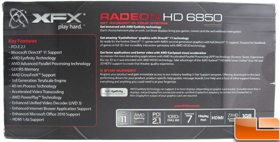 XFX Radeon HD 6850 Video Card Box Back