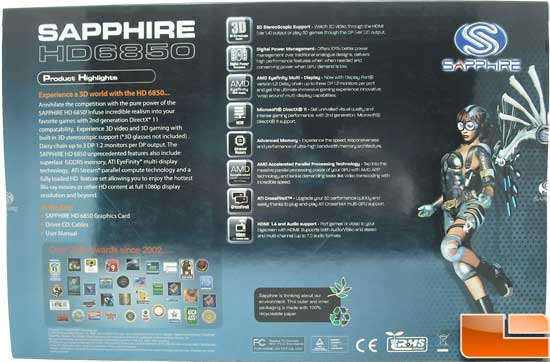 Sapphire Radeon HD 6850 Toxic Video Card Box Back