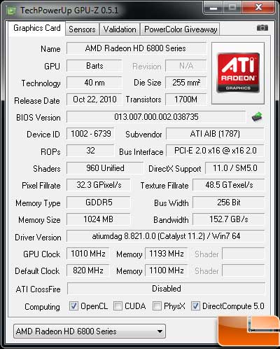 HIS Radeon HD 6850 Turbo Video Card Gpu-Z overclock
