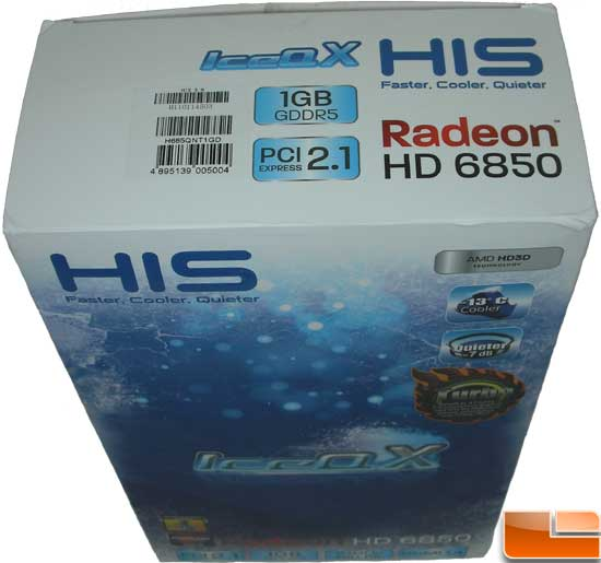 HIS Radeon HD 6850 Turbo Video Card Box Top