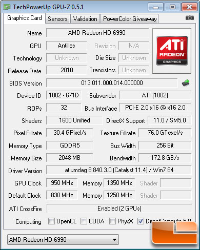 AMD Radeon HD 6990 Video Card Overclock