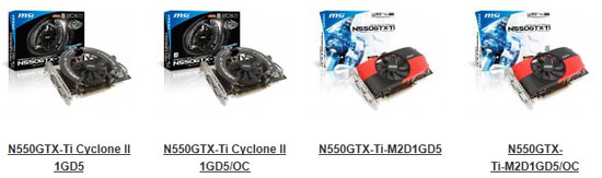 MSI N550GTX Video Card Series