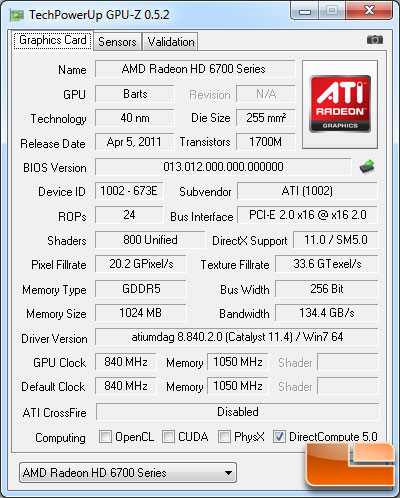 AMD Radeon HD 6790 Video Card GPU-Z 0.5.2 Details