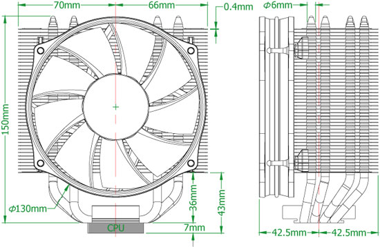Thermolab Trinity CPU Cooler dimensions