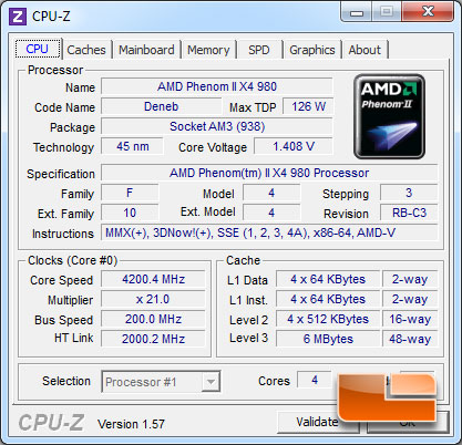 AMD Phenom II X4 980 Black Edition Overclocked CPUz