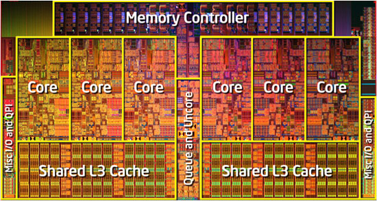 Intel Core i7 990X Extreme Edition Die
