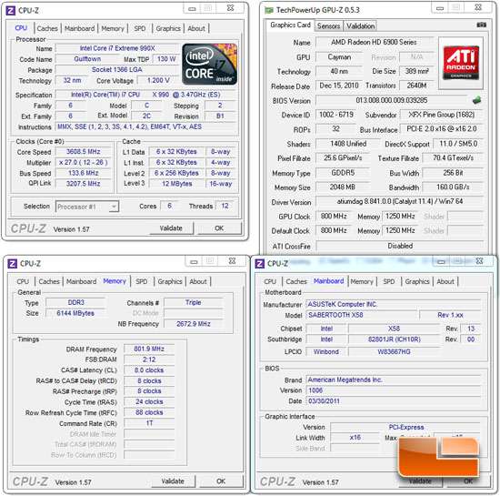 Intel Core i7 990X Extreme Edition Processor Test Settings