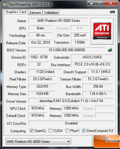 Asus Radeon HD 6870 Video Card GPUZ