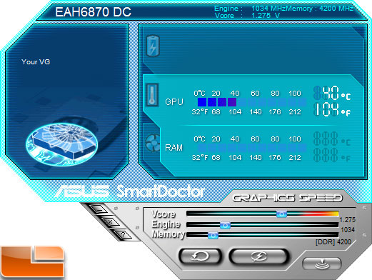 Asus Radeon HD 6870 Video Card Smart Doctor overclock