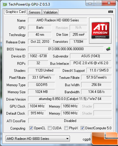 Asus Radeon HD 6870 Video Card Gpu-Z overclock