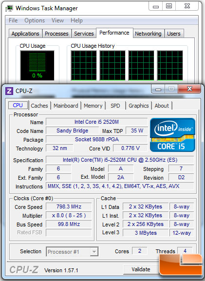 Intel Core i5-2520M Processor Idle