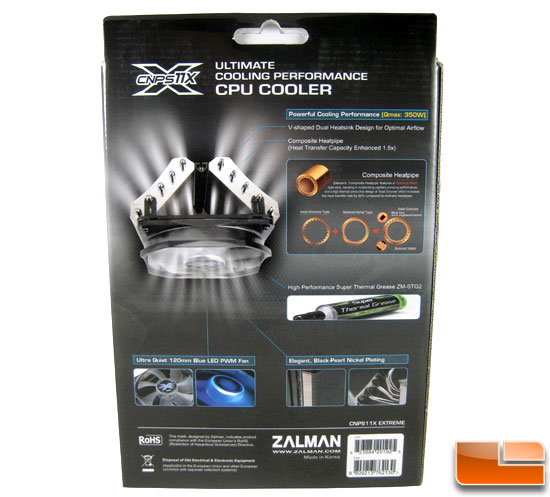 Zalman CNPS11X CPU Cooler box back