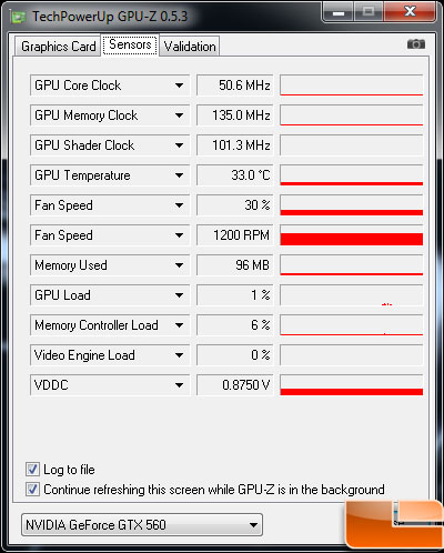 EVGA GeForce GTX 560 SC Video Card Idle Temp