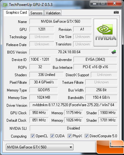 EVGA GeForce GTX 560 SC Video Card Gpu-Z overclock