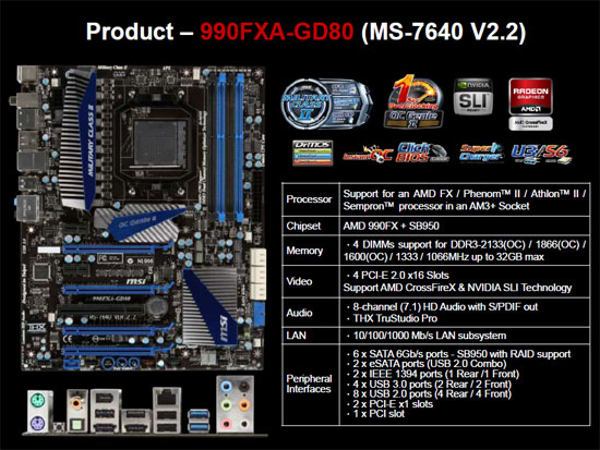 MSI 990FXA-GD80 AMD 990FX AM3+ Specifications