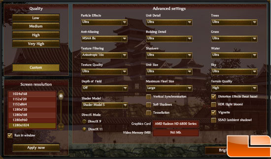 Gigabyte GeForce GTX 560 OC Video Card Total War: Shogun 2 In Game