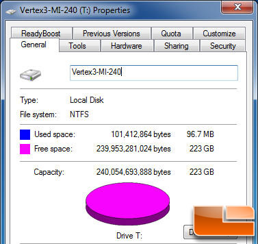 Vertex 3 MI 240GB Properties