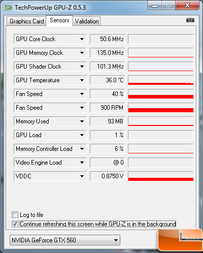 Gigabyte GeForce GTX 560 OC Video Card Idle Temp
