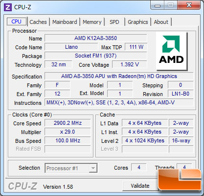 AMD A8-3850 APU Stock Clock Settings