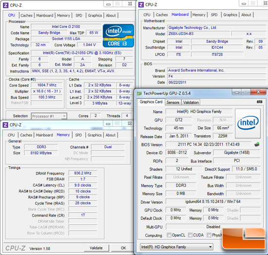 Intel P55 Test Settings