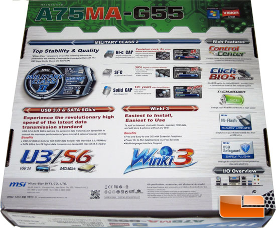 MSI A75MA-G55 AMD APU Motherboard Retail Packaging