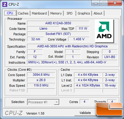 AMD A6-3650 APU Highest Stock Voltage Overclock