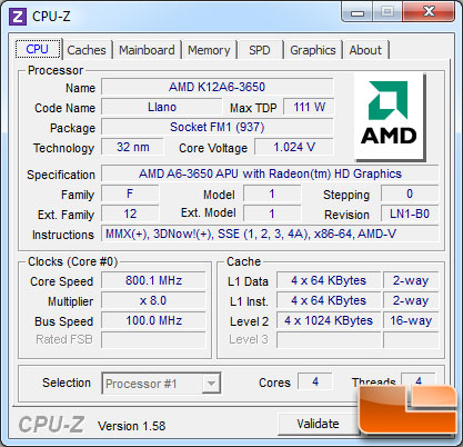 AMD A6-3650 APU Idle Clock Speed