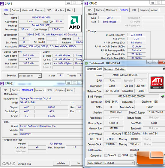 AMD Socket FM1 Test Settings