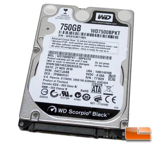 Western Digital Scorpio Black 750GB Hard Drive