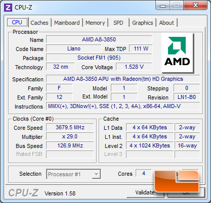 ASRock A75 Pro4 AMD A8-3850 Overclocked CPUz 1.58